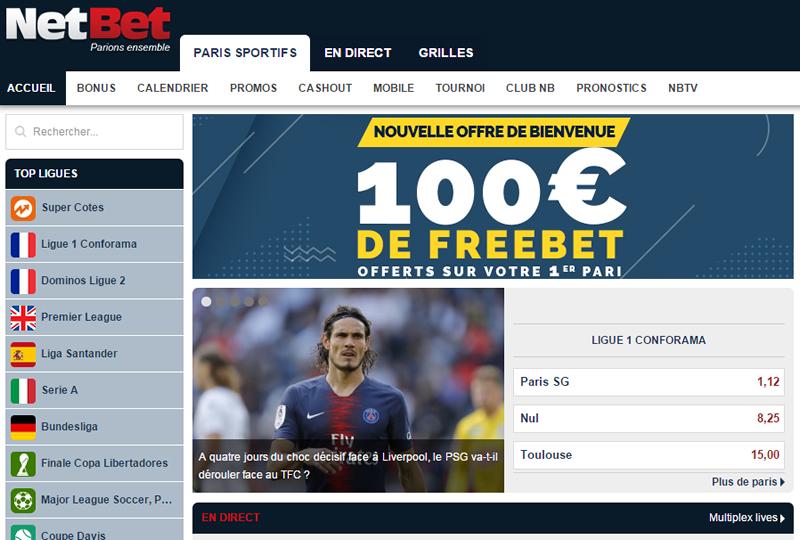 Le site NetBet.fr est spécialement bien conçu pour parier sur votre équipe de foot favorite du moment!